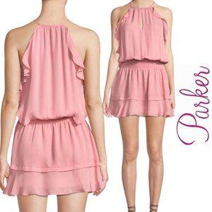 Parker NWT Sleeveless Blouson Pink Silk Dress, MED